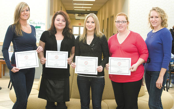 From left, radiography award winners are Jessica Rice, Jonie Redmond, Victoria Jennings, Melinda Benshoff and Jamie Leese.