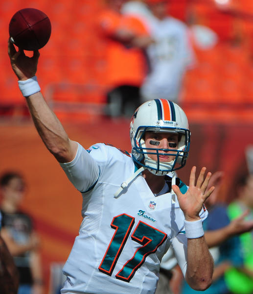 Miami Dolphins quarterback Ryan Tannehill warms up before the   Buffalo Bills game, Sunday, Dec. 23, 2012, at Sun Life Stadium in Miami Gardens.
