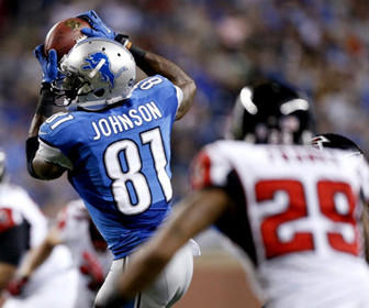 Calvin Johnson broke Jerry Rice's single-season receiving record on Saturday night, but his Detroit Lions lost to the Atlanta Falcons at home by a score of 31-18.