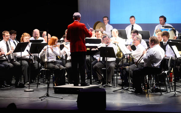"The Hagerstown Municipal Band performed at The Maryland Theare Sunday afternoon during ""A Hagerstown Holiday"" concert with The Barbara Ingram School For The Arts Wind Band."
