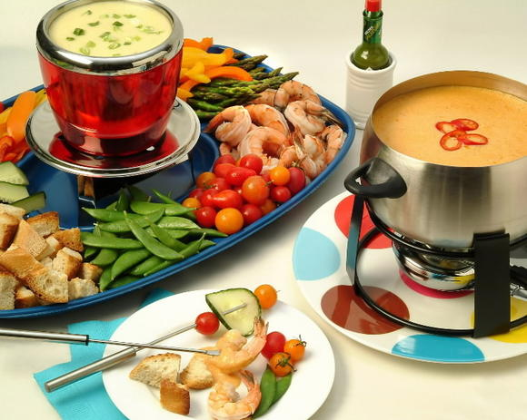 Fondue Verde: Combination of Monterey Jack and Parmesan cheeses, and can be served with Italian or French bread cubes, cooked shrimp, cooked chicken or pork cubes, or assorted vegetables.