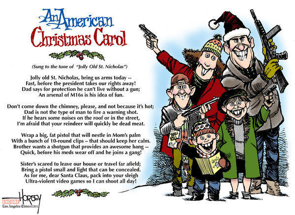 The debate about guns in America is perennial, as shown in this updated David Horsey cartoon from Christmas 1993.