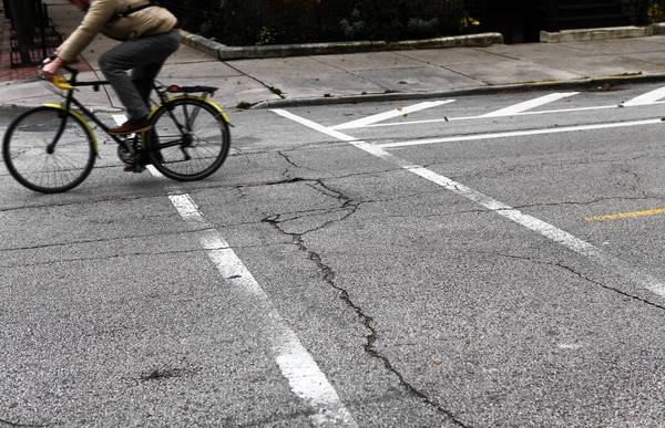 This year, the city tackled faded crosswalk striping, replacing these horizontal stripes with vertical markings. Many bike lanes were added too.