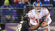 Flustered, harassed and repeatedly knocked to the ground by a relentless Ravens defense, New York Giants quarterback <strong>Eli Manning</strong> couldn't get his bearings Sunday.