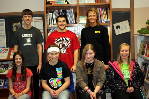 Groton Area School chose its students of the month for September. Each month, the faculty selects seven students who show outstanding academic achievement. These students receive certificates, have a spring lunch with the principal and are eligible for student of the year. Front row, from left: AnneMarie Smith, sixth grade; Alexis Gustafson, seventh; Keri Pappas, eighth; and Marlee Jones, ninth. Back row, from left: Luke Smith, 10th; Alec Oleson, 11th; and Erica Schuster, 12th.