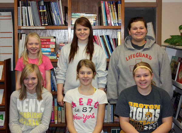 Groton Area School chose its students of the month for October. Each month. the faculty selects seven students who show outstanding academic achievement. These students receive certificates, have a spring lunch with the principal and are eligible for student of the year. Front row, from left: Lisa Taylor, seventh grade; Gabrielle Kramer, eighth; and Megan Unzen, ninth. Back row, from left: Cassandra Townsend, sixth; Haley Unzen, 10th; and Kelsey Wieseler, 12th. Not pictured: Cheyenne Schaller, 11th.