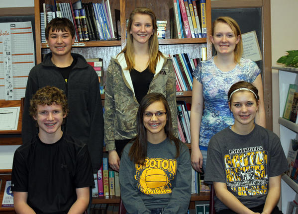 Groton Area School chose its students of the month for November. Each month, the faculty selects seven students who show outstanding academic achievement. These students receive certificates, have a spring lunch with the principal and are eligible for student of the year. Front row, from left: Tylan Glover, sixth grade; Macy Knecht, eighth; and Amber Schuster, ninth. Back row, from left: Luke Thorson, seventh; Joellen Gonsoir, 11th; and Andee Geist, 12th. Not pictured: Gabe Dohman, 10th.