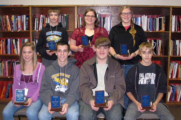 Students of the month for December were selected from Aberdeen Central High School. Front row, from left: Kaylee Kappes, Trevor Larson, Matthew Klein and Patrick Woods. Back row, from left: Andrew Tobin, Aliza Rux and Annie Compton. Not pictured: Alisha Jung, Sydney Phillips, Rachelle Hochstetter, Shay Potter and Jorden Rohrbach.