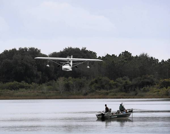 A SeaRey prototype plane takes off over Lake Idamere in Tavares this month.