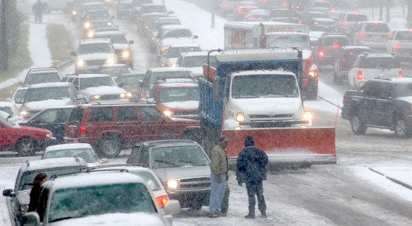 Stranded motorists in Little Rock, Ark., in 2004.