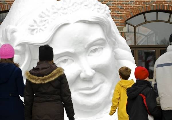 A snow-sculpting work at the Winterfest Celebration in Kohler, Wis.