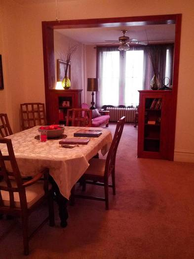 A dining room in the Monastery of the Holy Cross B&B in Chicago's Bridgeport neighborhood