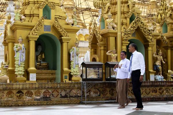 President Obama tours the Shwedagon Pagoda in Yangon, Myanmar, also known as Burma, last month. Some diplomats still use Myanmar with government officials and Burma with foreigners, a path Obama followed during his six-hour visit.