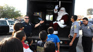 Santa Claus at the Bike and Toy giveaway