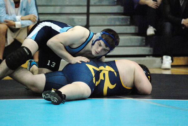 Petoskey senior Jordan Haggerty won his weight class at 215 pounds Saturday at the Hudsonville Invitational as he finished with a 3-0 record including a pin win over Caledonias Jake Vanderveen in the title match. Haggerty is 14-1 on the season.