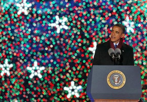 President Obama at Christmas tree lighting