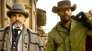 "In ""Django Unchained,"" which has its moments of devilish glee in and among dubious wallows in numbing slaughter, writer-director-trash compactor Quentin Tarantino delivers a mashup of several hundred of his favorite movies, all hanging, like barnacles, onto a story of a freed slave (Jamie Foxx) and his bounty-hunter savior (Christoph Waltz) out to rescue Django's wife (Kerry Washington) from a venal plantation owner (Leonardo DiCaprio). The plantation's ""house slave"" (Samuel L. Jackson) has no divided loyalties in the eventual standoff."