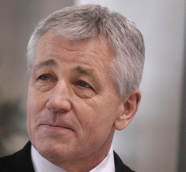 Then-Nebraska Sen. Chuck Hagel is seen in Omaha on Dec. 18, 2008.