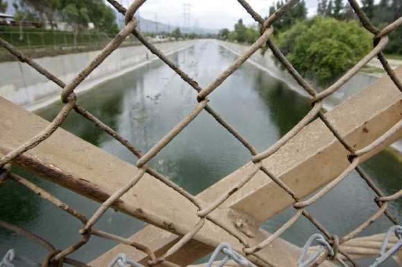 A view of the Los Angeles River from the Mariposa Street bridge.