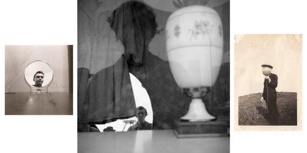 "Vivian Maier self-portrait flanked by two anonymous photographs at Ambach & Rice's show ""Lost & Found: Anonymous Photography in Reflection."""