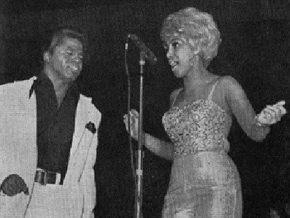 Singer Marva Whitney performs with James Brown in an undated photo.