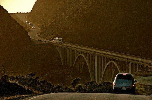A rock slide closed Highway 1 seven miles south of Big Sur on Monday. Above, a file photo of the coastal road as it goes across Big Creek Historic Bridge in the Big Sur area.