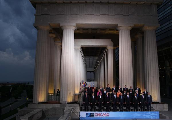 "NATO leaders come together at Soldier Field for their so-called family photo during the group's summit in Chicago.<a href=""http://galleries.apps.chicagotribune.com/chi-120520-nato-summit-chicago-pictures/#2""><b><i> Go here to see our photogallery on the NATO Summit.</i> </b></a>"