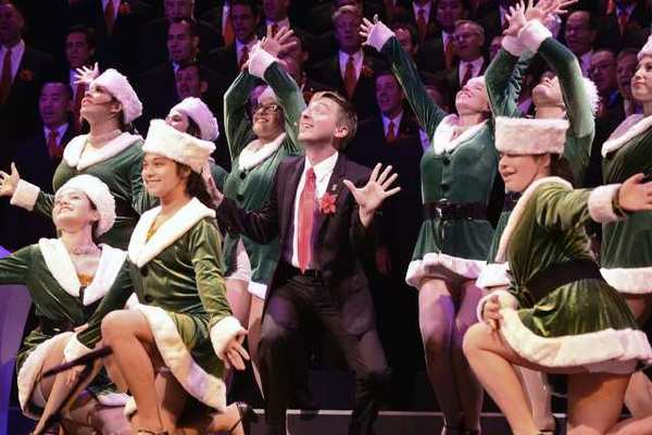 """GMCLA member David Knebel gets his holiday wish in """"I Wanna Be A Rockette,"""" with alumni of Creative Planet School of the Arts."""