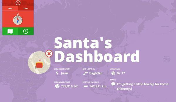 A screen grab from Google's Santa Tracker.