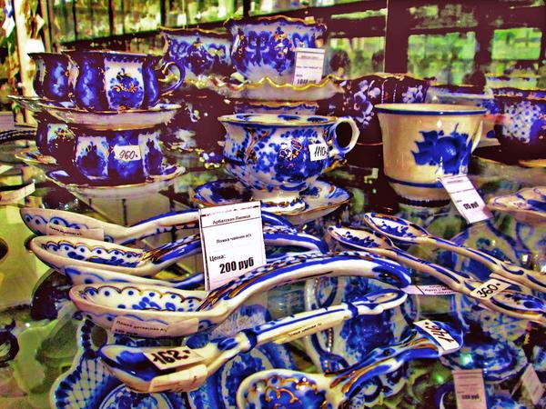 Gzhel, traditional Russian blue and white pottery, is sold at Arbatskaya Lavitsa on Moscow's Arbat Street.