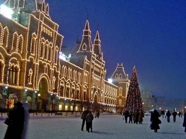The venerable GUM department store is outlined in lights on Moscow's Red Square.