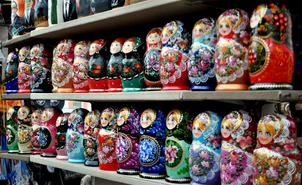 Colorful <i>matryoshka </i> nesting dolls are a popular find on Moscow's pedestrian Arbat Street.