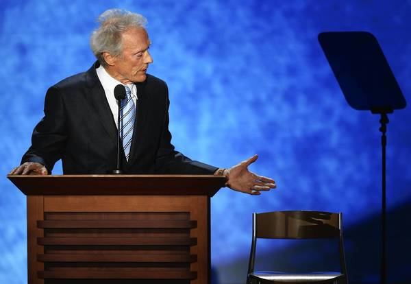 Actor/Director Clint Eastwood speaks to a chair during the final day of the Republican National Convention at the Tampa Bay Times Forum on August 30, 2012 in Tampa, Florida.