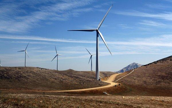 Wind turbines are seen at the L.A. DWP Pine Tree Wind Farm located in the Tehachapi Mountains