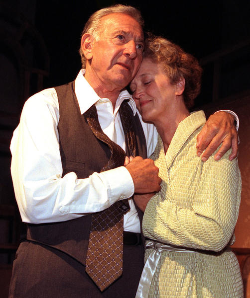 "Jack Klugman and Nancy Linehan Charles as Willy Loman and Linda Loman in Arthur Miller's ""Death of a Salesman"" in 1998."