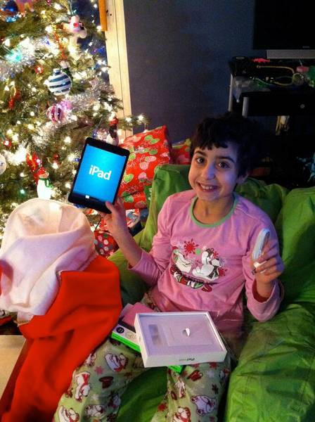 Santa brought Kylee an iPad Mini this year.