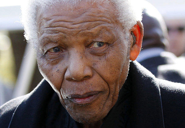 June 2010 file photo of Nelson Mandela in Sandton.