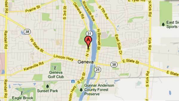 Map of 1st and Stevens streets in Geneva where a teen with an air gun was taken into custody.