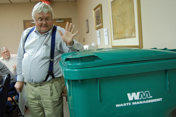 Waynesboro (Pa.) Borough Manager Lloyd Hamberger talks about the larger recycling bins that borough residents will start using next month.