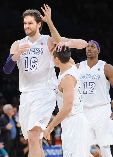 Lakers Pau Gasol and Steve Nash celebrate