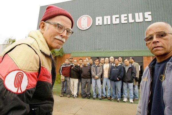 "Former employees -- including Douglas Marshall, left, and Chuck Johnson, right -- stand in front of the Angelus factory in Vernon. According to a man who spent 43 years in the industry, ""the Angelus people were craftsmen."""