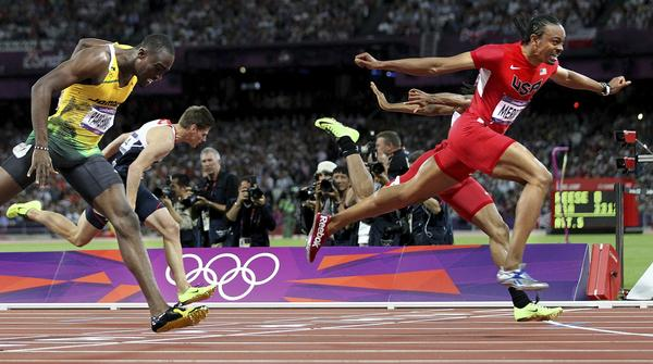 Aries Merritt of the U.S. crosses the finish line to win the the gold medal in the 110-meter hurdles at the London Olympics.