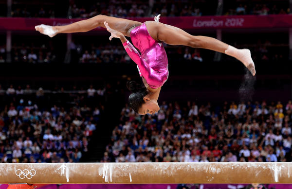 Gold medal winner Gabrielle Douglas of the U.S. competes on the balance beam in the women's individual all-around gymnastics event at the London Olympics.