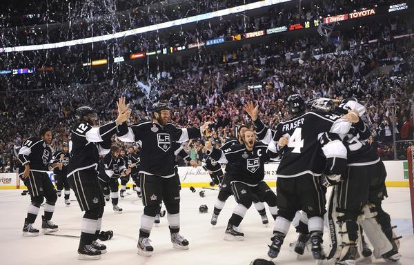 Kings players celebrate winning the Stanley Cup after defeating the New Jersey Devils in Game 6 of the Stanley Cup Final at Staples Center. It was the first Stanley Cup in franchise history.