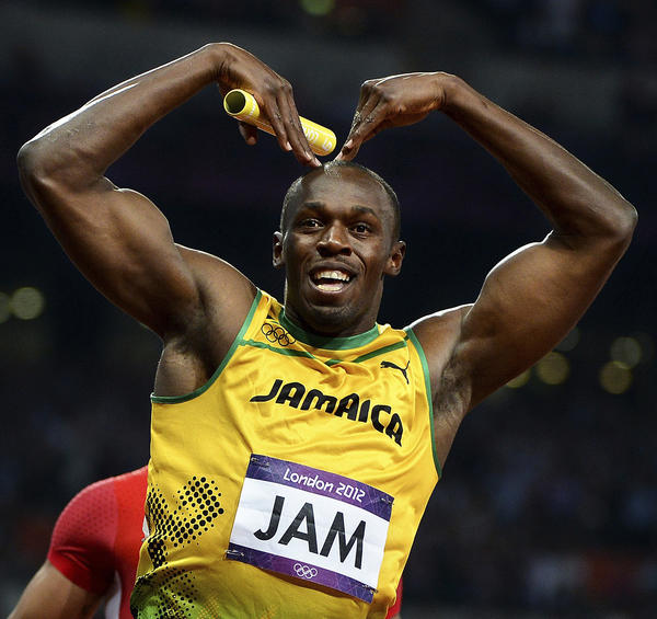 Jamaica's Usain Bolt celebrates winning the gold in the 400-meter relay at the 2012 London Olympics. Bolt also won gold in the men's 100- and 200-meter races.