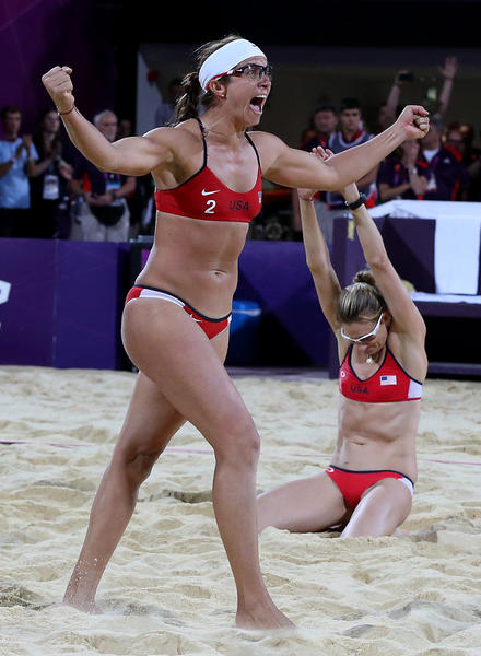 Misty May-Treanor, left, and Kerri Walsh celebrate seconds after winning the gold medal in the London 2012 Olympics beach volleyball final. It was their third consecutive gold medal in the event, and they retired after winning the gold.