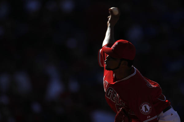 Ervin Santana of the Angels delivers a pitch during a game against the Dodgers earlier this year. Santana was traded to the Kansas City Royals after the season ended.