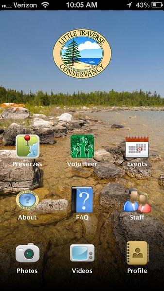 An image of the smart phone app recently developed by Little Traverse Conservancy shows the functions of the tool.