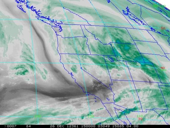 A satellite image shows water vapor above the Western U.S. on Dec. 26 2012.
