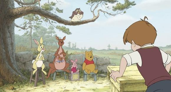 "From right, Rabbit, Kanga, Roo, Piglet, Owl, Winnie the Pooh and Christopher Robin are shown in a scene from ""Winnie the Pooh."""